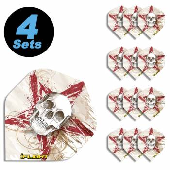 4 Flight Sets (12 Stk) Standard Polyester Totenkopf