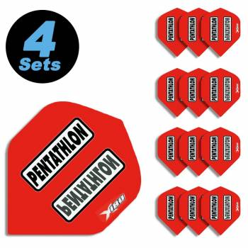 4 Flight Sets (12 Stk) Standard Polyester Pentathlon rot HD180 super strong